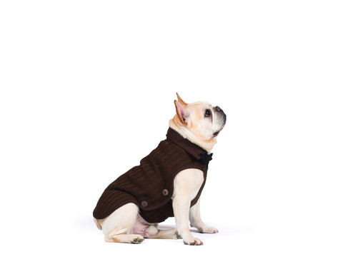 dog jacket, nano knit coat, repelzit, repelz-it, nano technology, nano treatment, long-lasting dog coat, brown coat