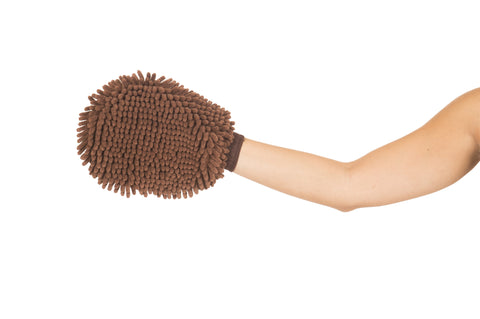 dirty dog grooming mitt, silicone brush, clean slobber glove, brown dirty dog grooming mitt