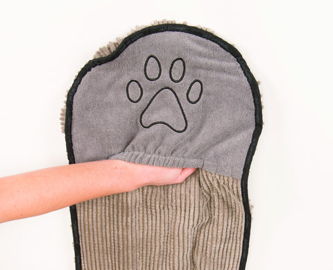 dog shammy, grey, dog towel, hand pocket
