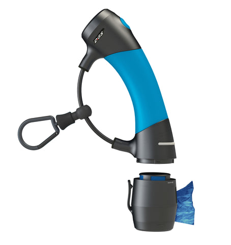 dog leash holder system, i'm gismo, dog walking gear, electric blue handle, poop bag dispenser, walking dog with one hand