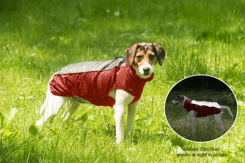 repelz-it, dog jacket, repelzit, 2 season jacket, nano protection, reflective dog jacket, nano slim, fleece liner, meteor, red chili, hexagon pattern dog jacket