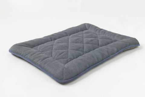 grey with blue trim chenille collection sleeper cushion crate pad with reversible fleece for dog