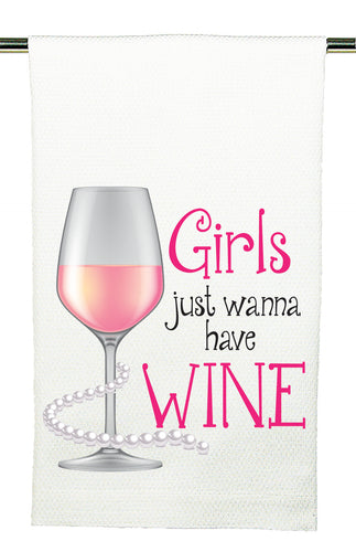 Huck Towel by Mariasch Studios: Girls Just Wanna Have Wine