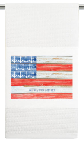 Waffle Towel by Mariasch Studios: Oh Say Can You Sea