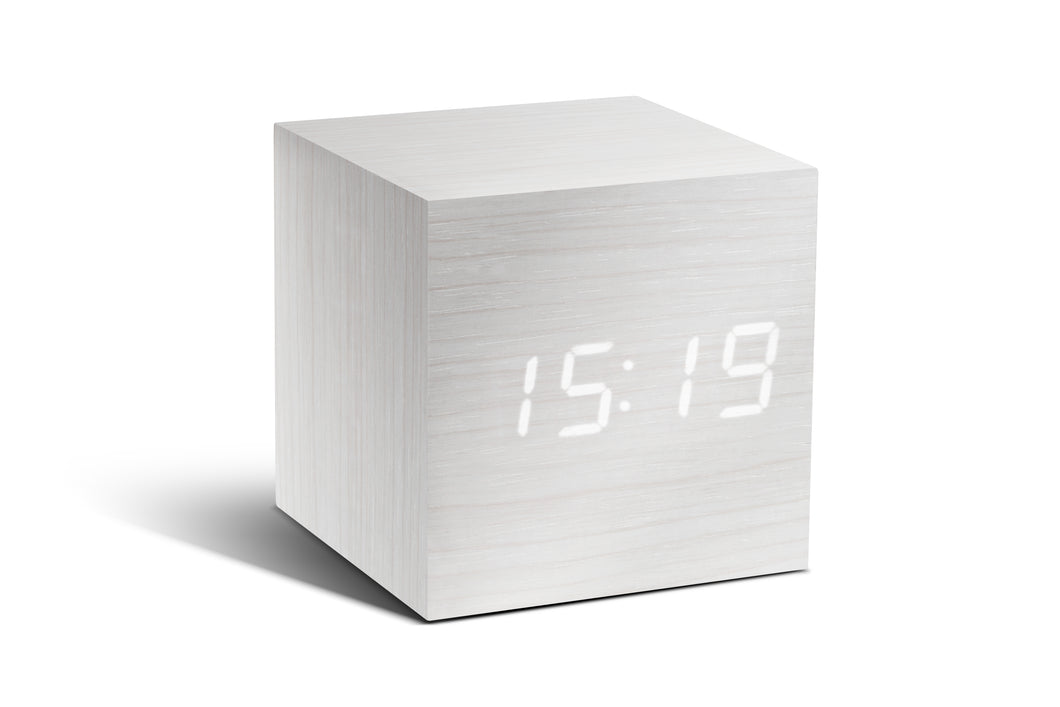 CUBE CLICK CLOCK / WHITE LED by Gingko - WHITE