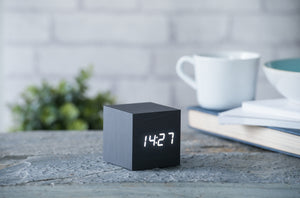 CUBE CLICK CLOCK / WHITE LED by Gingko - BLACK