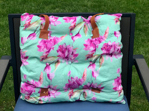 Multi-Purpose Cushion - 125 Aqua/Pink Flower