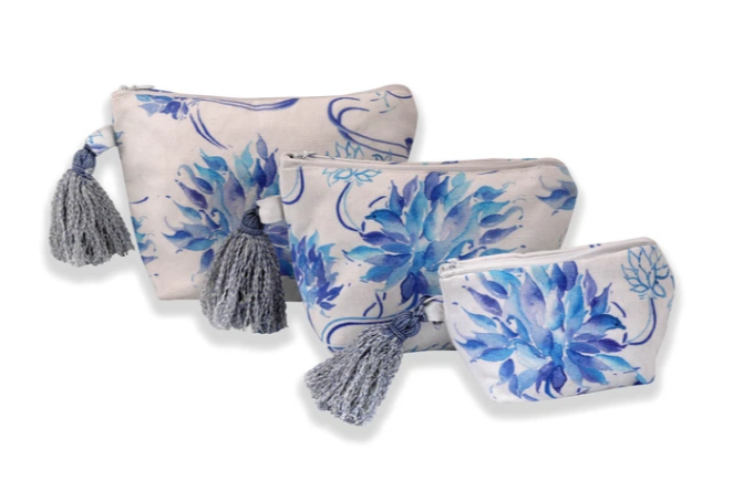 Multi-Utility Pouches: White with Blue Flower