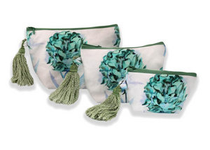 Multi-Utility Pouches: White with Teal Flower