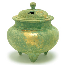 Load image into Gallery viewer, JAPANESE INCENSE BURNER Nippon Kodo - Copper burner / Round-shaped, Green with Gold