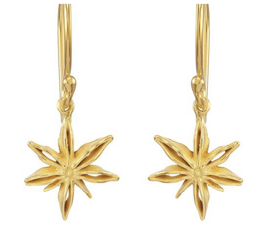 Catherine Weitzman: MINI STAR ANISE EARRINGS in 18K GOLD VERMEIL