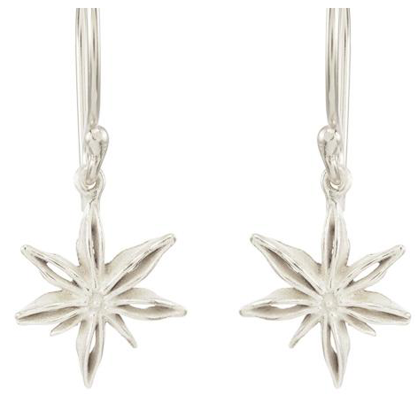 Catherine Weitzman: MINI STAR ANISE EARRINGS in SILVER