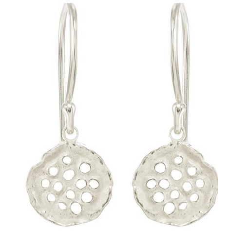 Catherine Weitzman: MINI LOTUS EARRINGS in SILVER