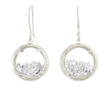 Load image into Gallery viewer, Catherine Weitzman: MINI SHAKER EARRINGS in SILVER WITH WHITE CRYSTAL