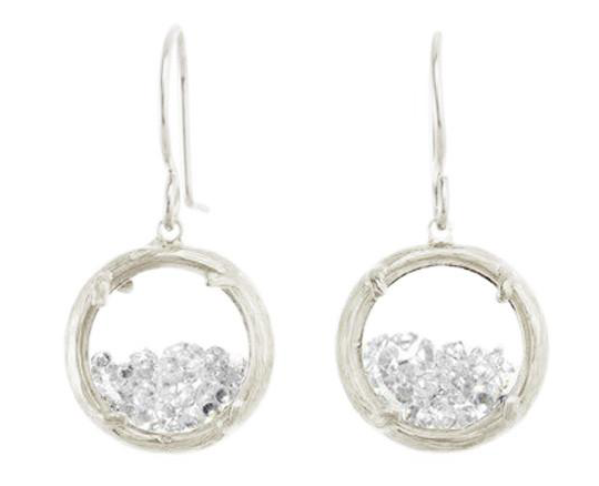 Catherine Weitzman: MINI SHAKER EARRINGS in SILVER WITH WHITE CRYSTAL