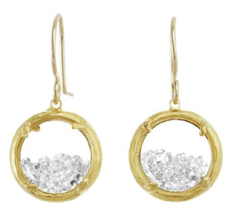 Catherine Weitzman: MINI SHAKER EARRINGS in 18K GOLD VERMEIL WITH WHITE CRYSTAL