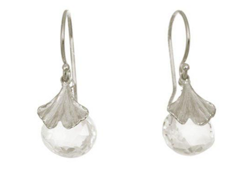 Catherine Weitzman: MINI GINGKO WITH WHITE TOPAZ EARRINGS in SILVER