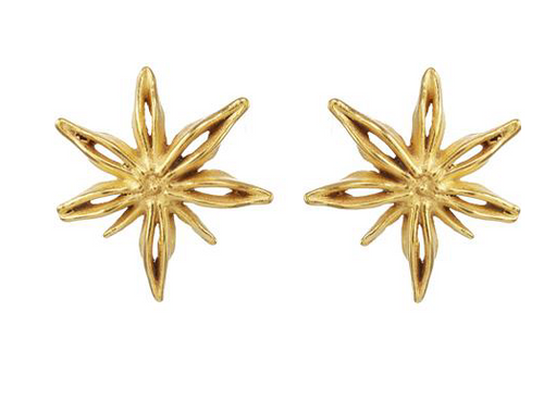 Catherine Weitzman: MINI STAR ANISE POSTS in 18K GOLD VERMEIL