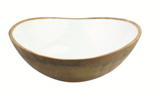 Load image into Gallery viewer, Mango Wood & White Enamel Large Bowl