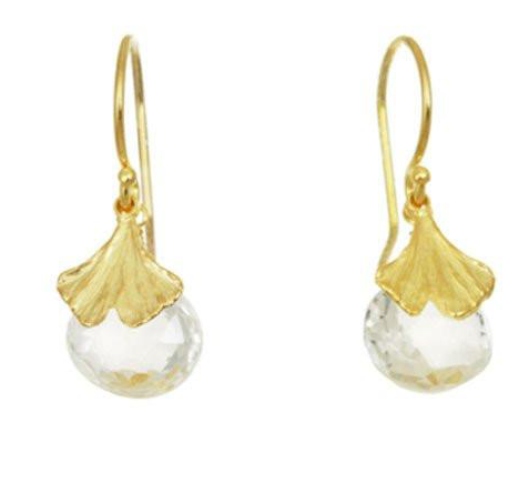 Catherine Weitzman: MINI GINGKO WITH WHITE TOPAZ EARRINGS in 18K Gold Vermeil