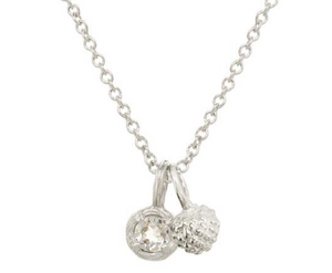 Catherine Weitzman: MINI SEED POD CHARM WITH MINI SOLITAIRE NECKLACE in Silver