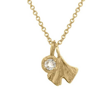 Load image into Gallery viewer, Catherine Weitzman: MINI GINGKO CHARM WITH MINI SOLITAIRE NECKLACE in 18K Vermeil