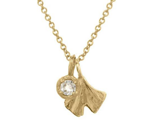 Catherine Weitzman: MINI GINGKO CHARM WITH MINI SOLITAIRE NECKLACE in 18K Vermeil