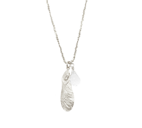 Catherine Weitzman: HALF MAPLE WITH STONE NECKLACE in Silver