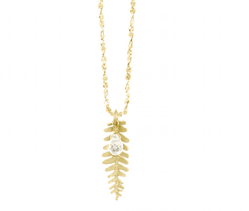 Catherine Weitzman: KAIMANA LEAF WITH STONE NECKLACE in 18K Vermeil