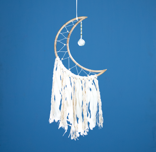Handmade Dreamcatcher: Small Moon With Crystal Ball