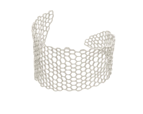 Catherine Weitzman: Honeycomb Cuff Bracelet in Sterling Silver Plate