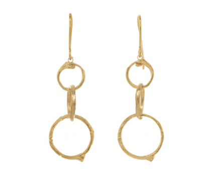 Catherine Weitzman: GRADUATED BRANCH CIRCLE EARRINGS in 18K Gold Vermeil