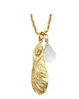Catherine Weitzman: HALF MAPLE WITH STONE NECKLACE in 18K Gold Vermeil
