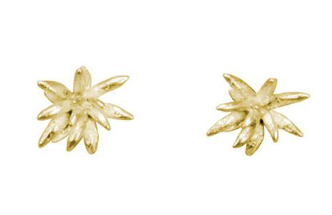 Catherine Weitzman: CHRYSANTHEMUM STUDS in 18K GOLD VERMEIL