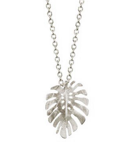 Catherine Weitzman: SMALL MONSTERA NECKLACE in SILVER