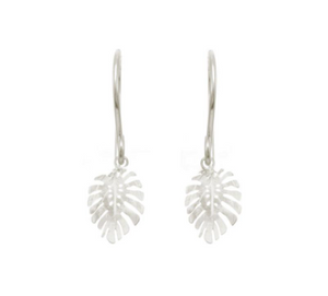 Catherine Weitzman: MINI MONSTERA EARRINGS in SILVER