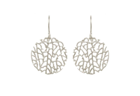 Catherine Weitzman: MINI CORAL DISC EARRINGS in SILVER