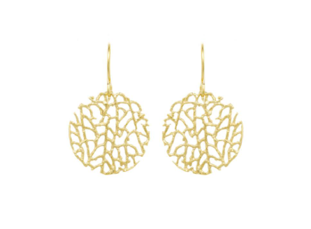 Catherine Weitzman: MINI CORAL DISC EARRINGS in 18K Vermeil
