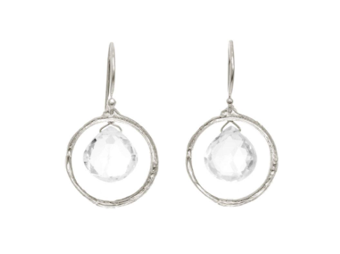 Catherine Weitzman: BRANCH CIRCLE WITH TOPAZ EARRINGS in SILVER