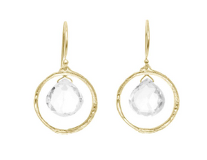 Catherine Weitzman: BRANCH CIRCLE WITH TOPAZ EARRINGS in 18K GOLD VERMEIL