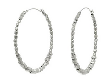 Load image into Gallery viewer, Catherine Weitzman: FACETED BEAD HOOP EARRINGS in SILVER