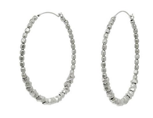 Catherine Weitzman: FACETED BEAD HOOP EARRINGS in SILVER