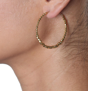 Catherine Weitzman: FACETED BEAD HOOP EARRINGS in 18K GOLD VERMEIL