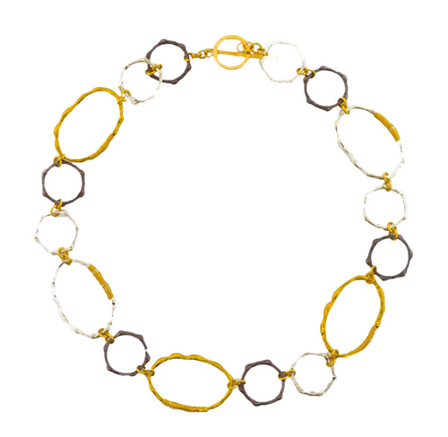 Mabel Chong: BAMBOO NECKLACE in GOLD-FILLED, SILVER and OXIDIZED SILVER
