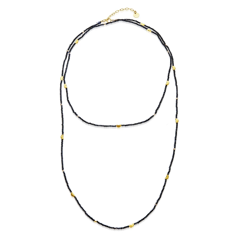 Mabel Chong: HALF MOON LONG STRAND NECKLACE in PYRITE