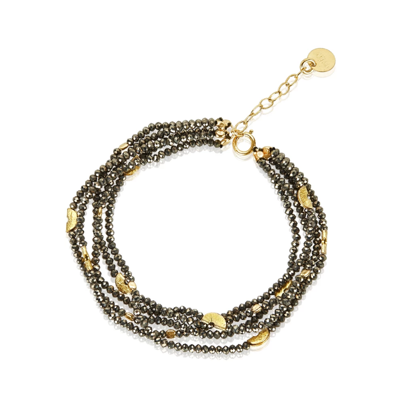 Mabel Chong: HALF MOON MULTI-STRAND BRACELET in GOLD and PYRITE