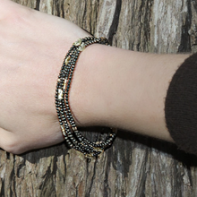 Load image into Gallery viewer, Mabel Chong: HALF MOON MULTI-STRAND BRACELET in GOLD and PYRITE