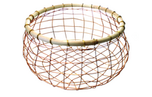 Load image into Gallery viewer, Copper Wire & Cane Round Basket