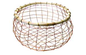 Copper Wire & Cane Round Basket