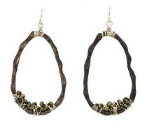 Load image into Gallery viewer, Mabel Chong: ORGANIC BAMBOO HOOPS in Oxidized Sterling Silver